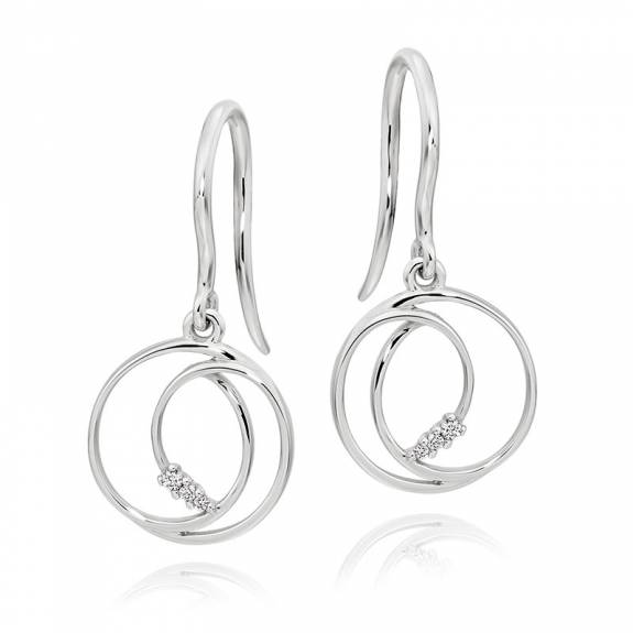 18ct White Gold Diamond Double Circle Swirl Drop Earrings