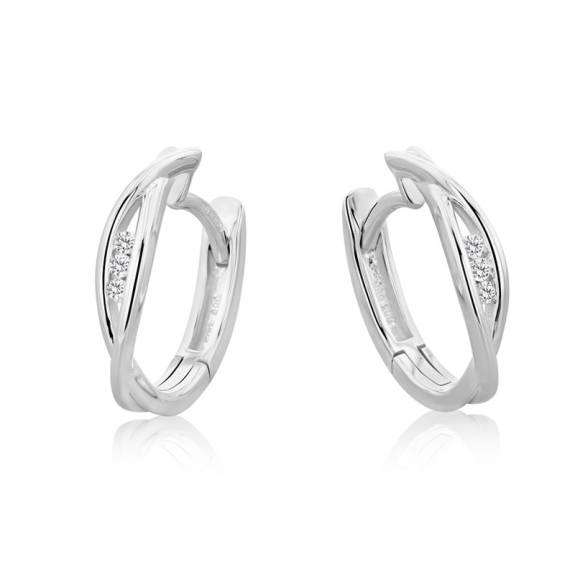 14ct White Gold & Diamond Figure-of-Eight Style Hoop Earrings