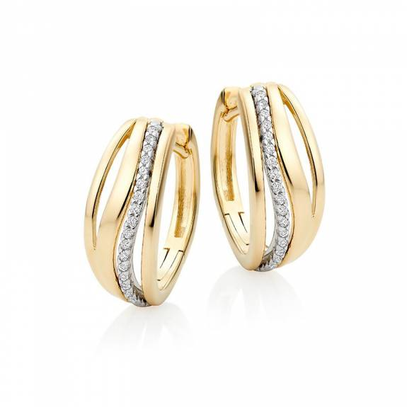 14ct Yellow Gold & Diamond Multi Strand Hoop Earrings