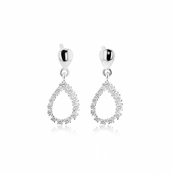 14ct White Gold & Diamond Pear Shaped Drop Style Earrings