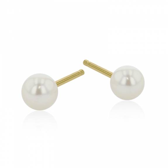9ct Yellow Gold Cultured Pearl Earring - 4mm