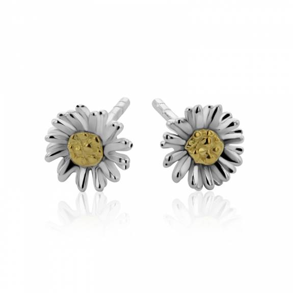 Silver & Gold Plated Daisy Style Stud Earrings