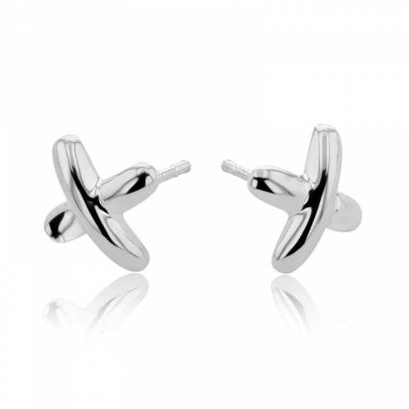 Silver Cross Design Stud Earrings