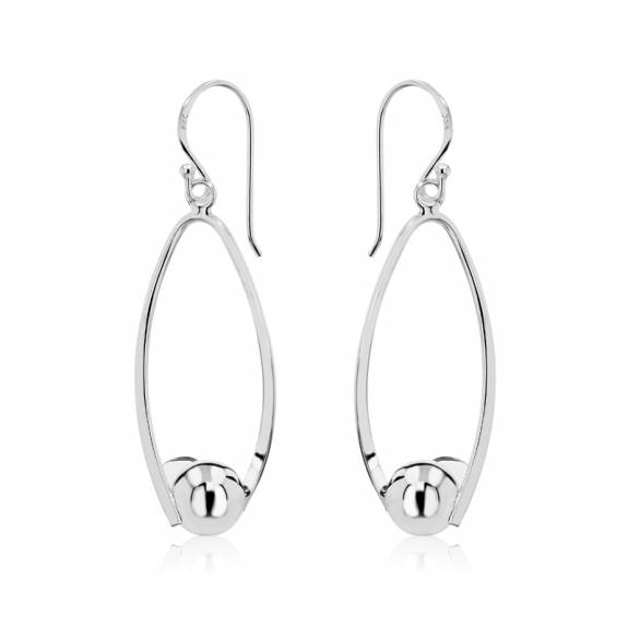 Silver Twisted Marquise & Ball Drop Earrings