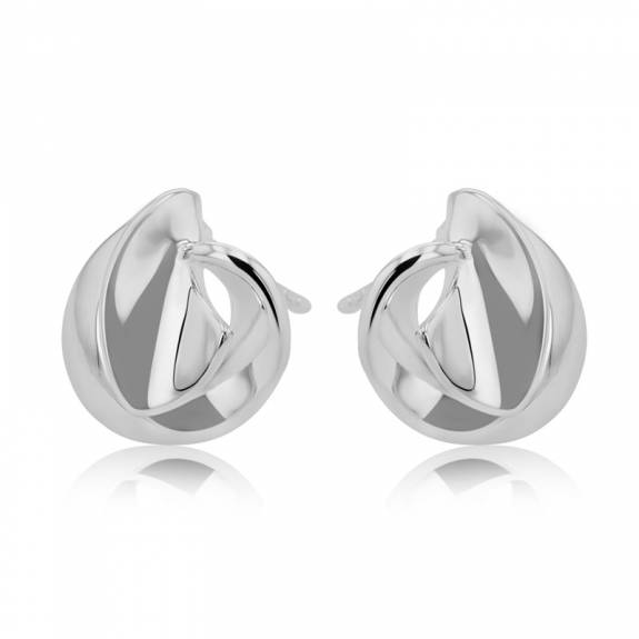 Silver Twisted Wrap-Over Round Stud Earrings