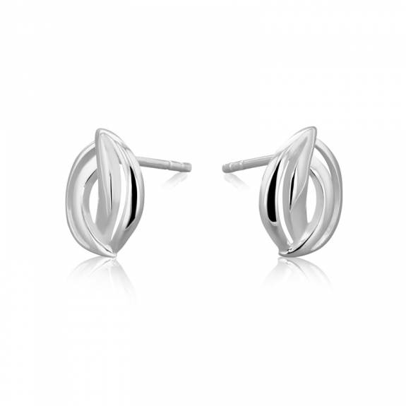 Silver Entwined Curves Stud Earrings
