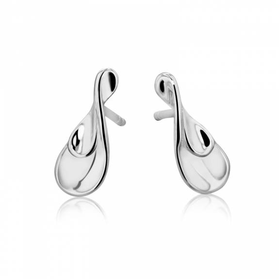 Silver Double Concave Tear Shaped Stud Earrings