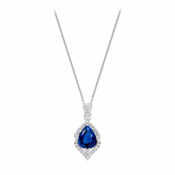 18ct White Gold 2.18ct Pear Cut Sapphire & Diamond Necklet