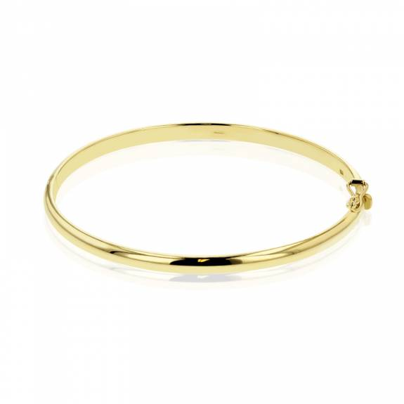 9ct Yellow Gold 4mm Oval Bangle