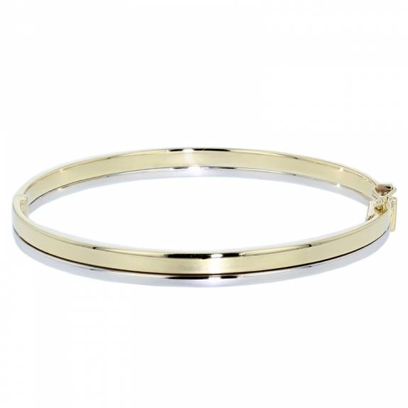 9ct Yellow and White Gold Oval Bangle