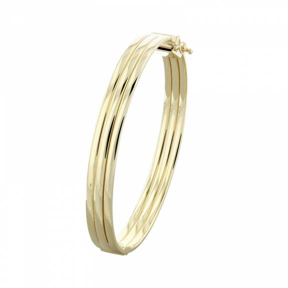 9ct Yellow Gold 8mm Grooved Bangle
