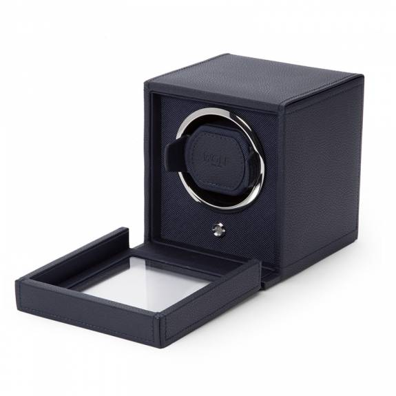 WOLF Cub Watch Winder With Cover Box - Navy