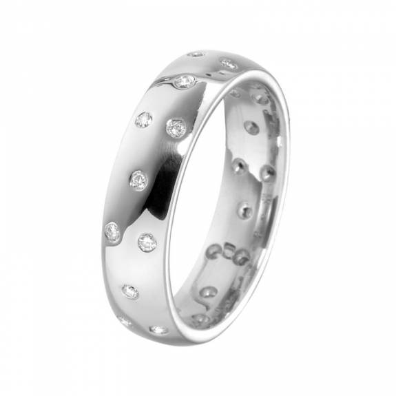 Ladies 18ct White Gold & Scattered Diamond Band