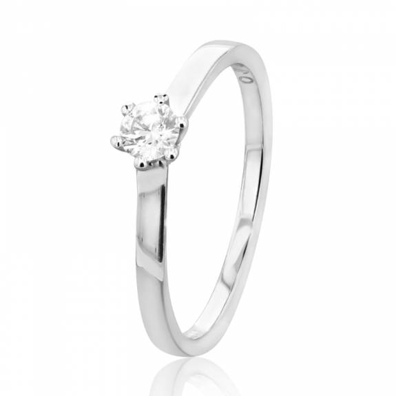 18ct White Gold Six Claw Diamond Ring - 0.19ct