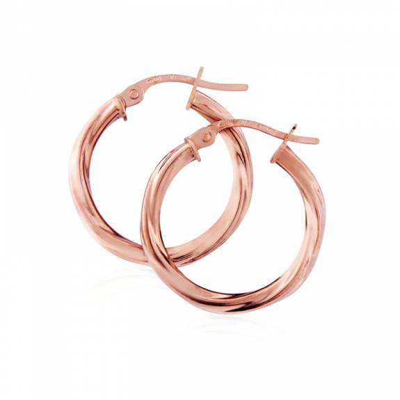 9ct Rose Gold Twist Hoop Earring