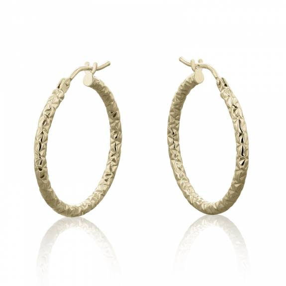 9ct Yellow Gold Medium Diamond Pattern Hoop Earrings