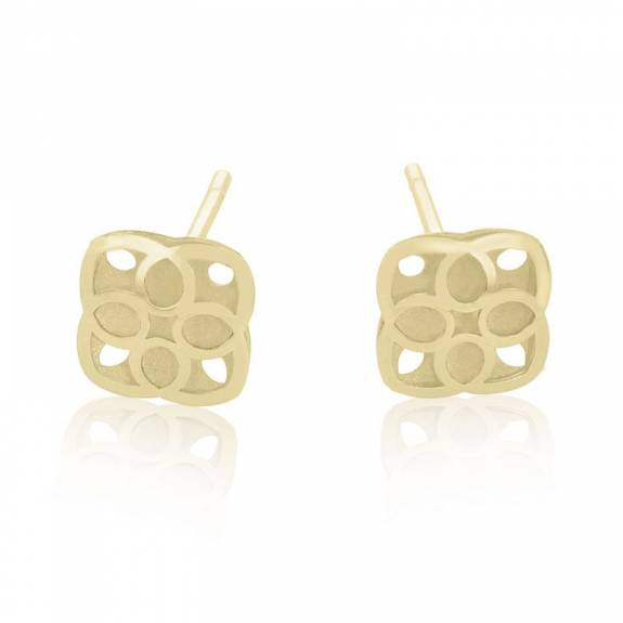 9ct Yellow Gold Square Flower Stud Earrings