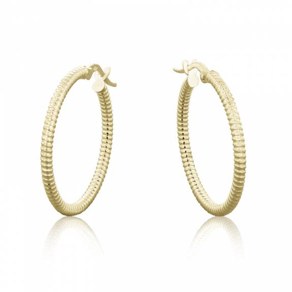 9ct Yellow Gold Ribbed Patterned Hoop Earrings