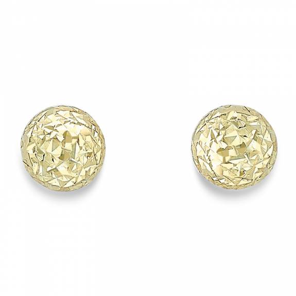 9ct Yellow Gold 8mm Diamond Cut Ball Stud Earrings