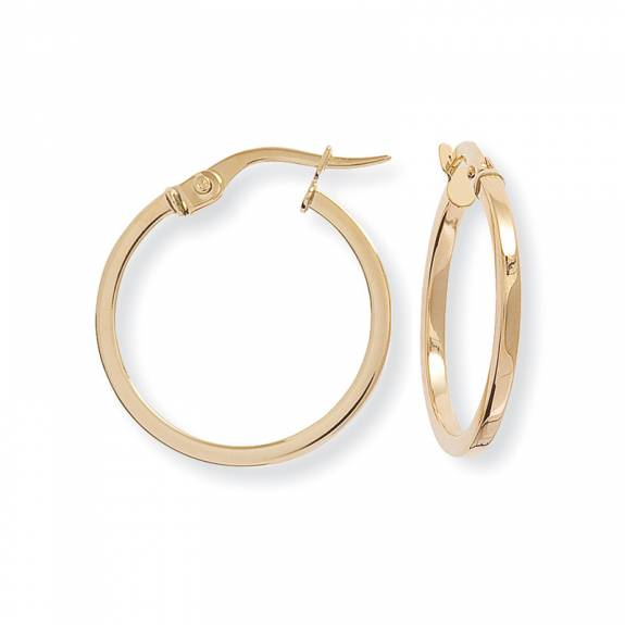 9ct Yellow Gold Round Squared Hoop Earrings