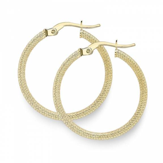 9ct Yellow Gold Medium Engine-Turned Patterned Hoop Earrings