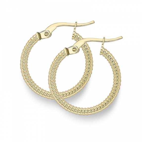 9ct Yellow Gold Small Ribbed Patterned Hoop Earrings