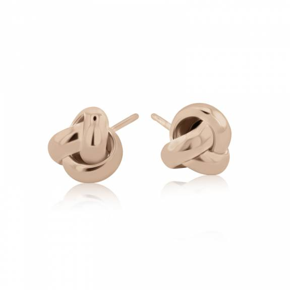 9ct Rose Gold Three Strand Knot Stud Earrings