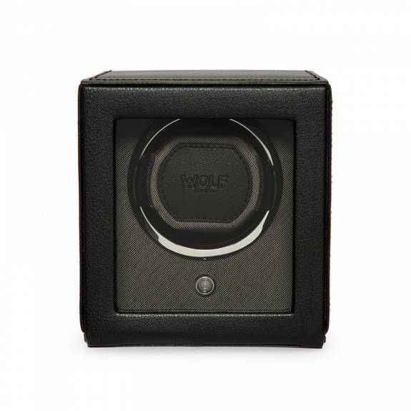 WOLF Black Cub Single Watch Winder Box