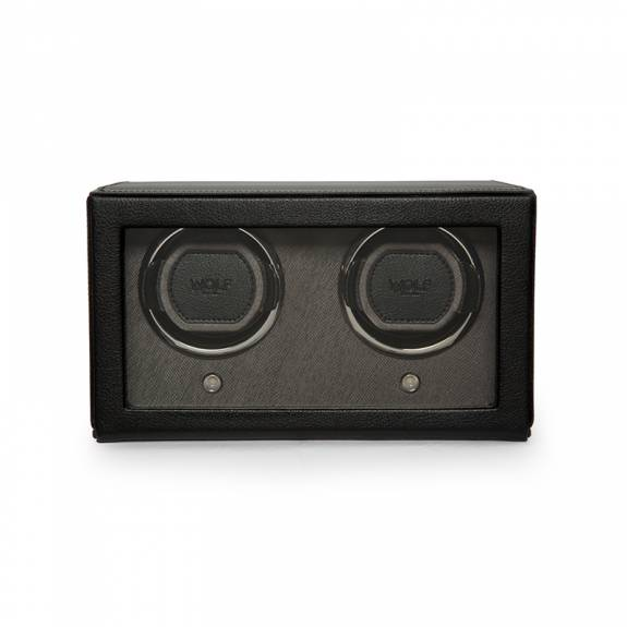 WOLF Black Double Cub Watch Winder Box