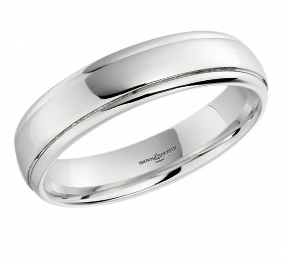 Gents 18ct White Gold Ridged Edge Court Style Wedding Band - 5mm